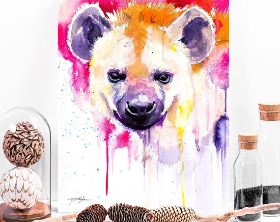 Hyena watercolor painting print by Slaveika Aladjova, art, animal, illustration, bird, home decor, Nursery, gift, African, Wildlife