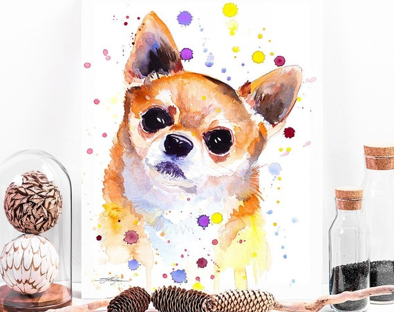 Chihuahua watercolor painting print by Slaveika Aladjova, animal, illustration, home decor, Nursery, Contemporary, dog art, wall art