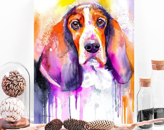 Basset dog watercolor painting print by Slaveika Aladjova, art, animal, illustration, home decor, Nursery, gift, dog, wall art