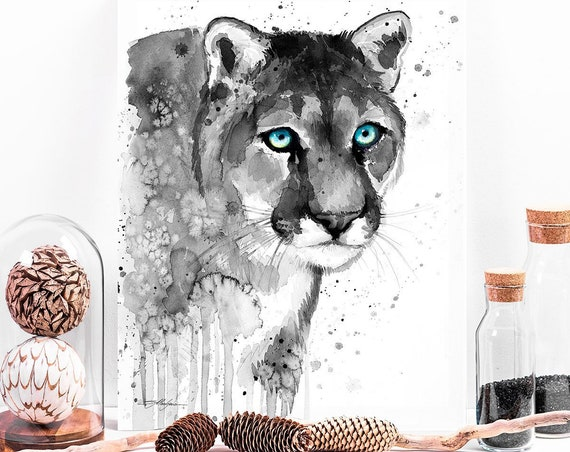 Black and white Puma watercolor painting print by Slaveika Aladjova, art, animal, illustration, home decor, Nursery, gift, Wildlife, cat