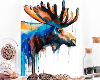 Moose watercolor painting print by Slaveika Aladjova, art, animal, illustration, home decor, Nursery, gift, Wildlife, wall art