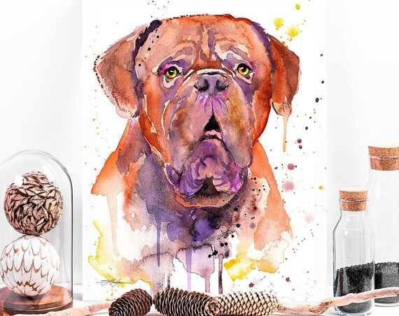 Dogue de Bordeaux, Bordeaux Mastiff, French Mastiff watercolor painting printby Slaveika Aladjova, dog, animal, illustration, home decor,