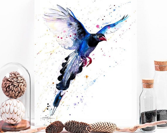 Taiwan Blue Magpie watercolor painting print by Slaveika Aladjova, art, animal, illustration, bird, home decor, wall art, gift, Wildlife