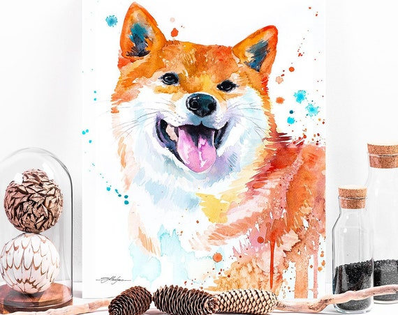 Red Shiba Inu watercolor painting print by Slaveika Aladjova, animal art, illustration,wall art, home decor, Giclee Print, portrait, dog