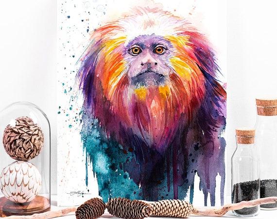 Golden lion tamarin watercolor painting print by Slaveika Aladjova, art, animal, illustration, home decor,Nursery, gift, African, Wildlife