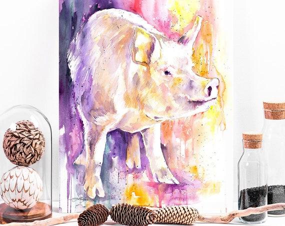 Pig watercolor painting print by Slaveika Aladjova, animal art, illustration, wall art, home decor, gift, Giclee Print, farm, portrait