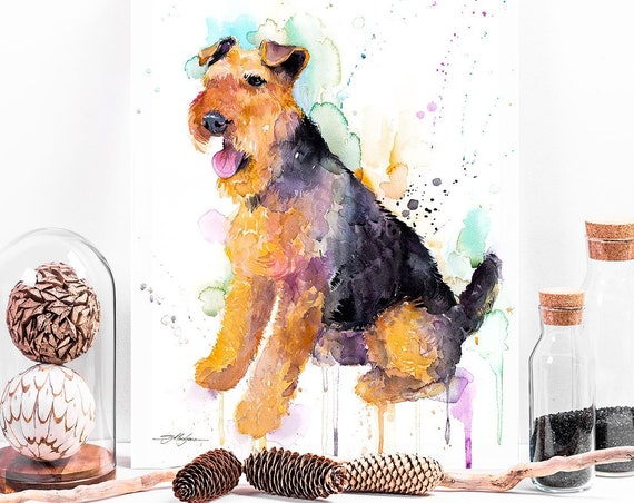 Welsh Terrier watercolor painting print by Slaveika Aladjova, animal, illustration, home decor, Nursery, Contemporary, dog art, wall art