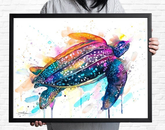 Leatherback sea turtle watercolor framed canvas by Slaveika Aladjova, Limited edition, art, animal watercolor, illustration, large canvas