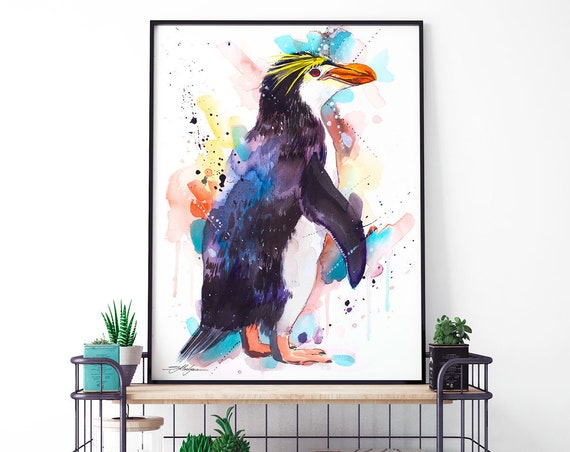 Royal penguin watercolor framed canvas by Slaveika Aladjova, Limited edition, animal, animal illustration, bird art, Large Canvas