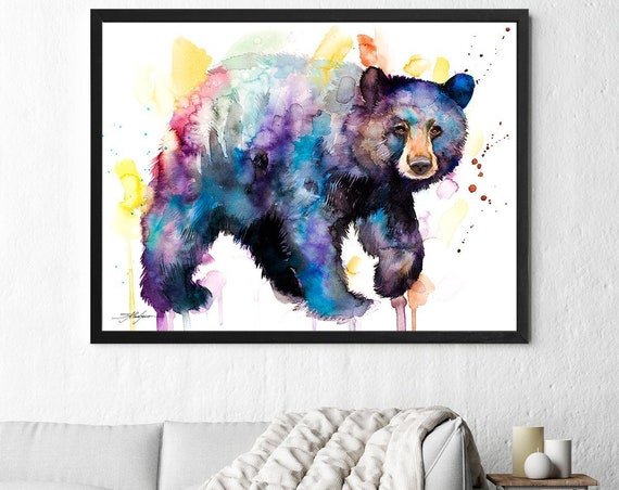 American black bear watercolor framed canvas by Slaveika Aladjova, Limited edition, art, animal watercolor, animal illustration,