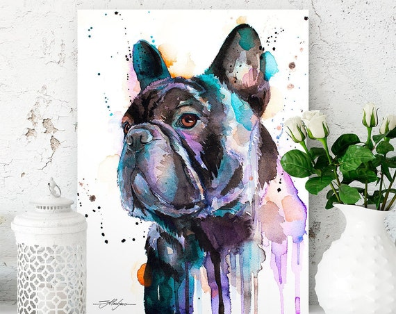 Black French Bulldog watercolor painting print by Slaveika Aladjova, art, animal, illustration, home decor, Nursery, Contemporary, dog art