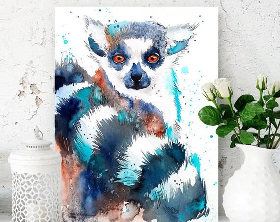 Ring-tailed lemur watercolor painting print by Slaveika Aladjova, art, animal, illustration, home decor, wall art, portrait, Contemporary