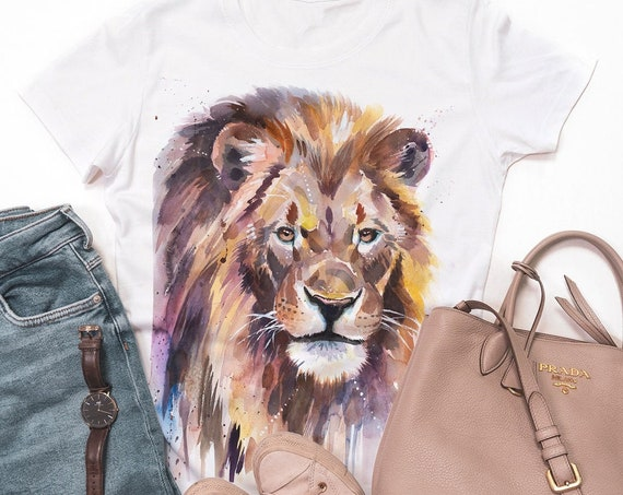 African Lion  T-shirt, Unisex T-shirt, ring spun Cotton 100%, watercolor print T-shirt,T shirt art,T shirt animal, XS, S, M, L, XL, XXL