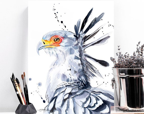 Secretary bird watercolor painting print by Slaveika Aladjova, art, animal, illustration, bird, home decor, wall art, gift, Wildlife