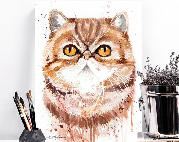 Exotic Shorthair Cat watercolor painting print by Slaveika Aladjova, art, animal, illustration, home decor, Nursery, gift, Wildlife,wall art