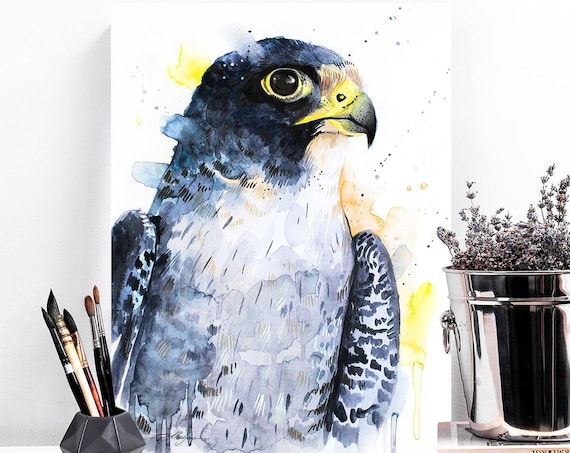 Peregrine Falcon watercolor painting print by Slaveika Aladjova, art, animal, illustration, bird, home decor, wall art, gift, portrait,