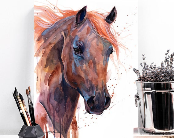 Brown Arabian Horse watercolor painting print by Slaveika Aladjova, animal art, illustration,wall art, home decor, wildlife, Giclee Print