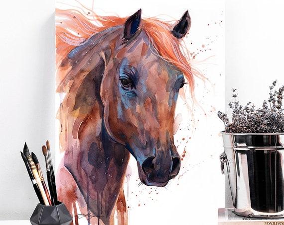 Brown Arabian Horse watercolor painting print by Slaveika Aladjova, animal art, illustration,wall art, home decor, wildlife, Giclee Print