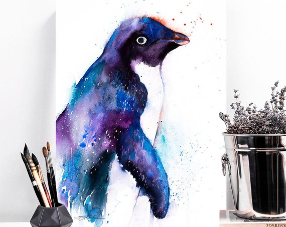 Adelie penguin watercolor painting print by Slaveika Aladjova, bird, art, animal, illustration, Sea art, sea life art, home decor, Wall art