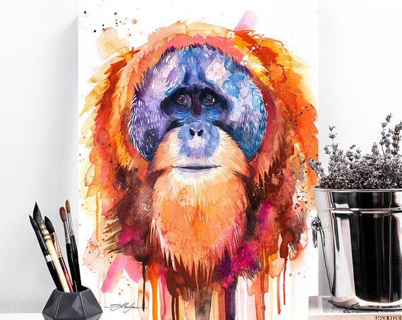 Tapanuli orangutan watercolor painting print by Slaveika Aladjova, art, animal, illustration, home decor, Nursery, Wildlife, monkey