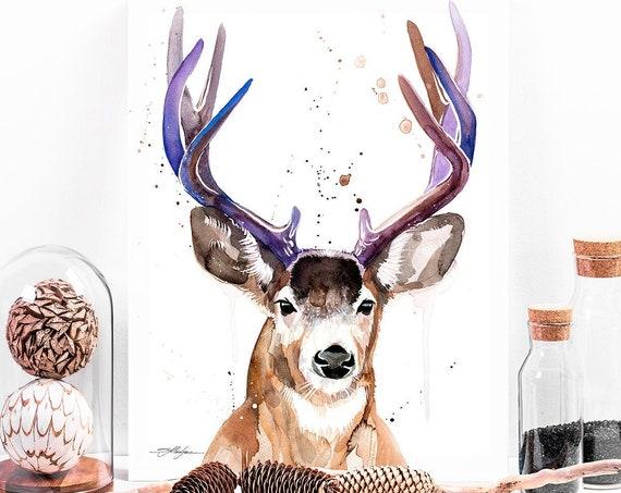 Mule deer, Black-tailed deer watercolor painting print by Slaveika Aladjova, animal, illustration, home decor, Nursery, Wildlife, wall art