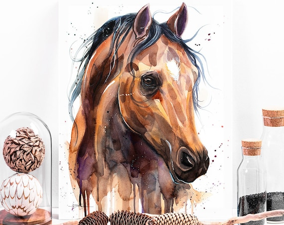 Thoroughbred Horse watercolor painting print by Slaveika Aladjova, animal art, illustration,wall art, home decor, wildlife, Giclee Print