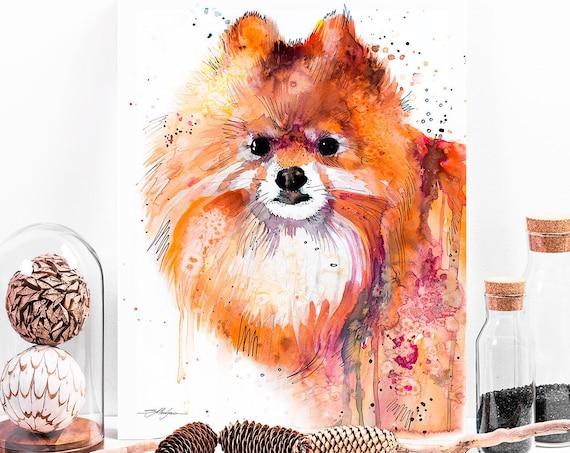 Pomeranian watercolor painting print by Slaveika Aladjova, animal, illustration, home decor, Nursery, Contemporary, dog art, wall art