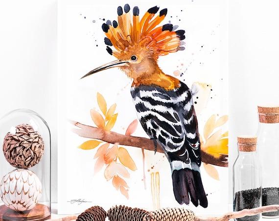 Hoopoe watercolor painting print by Slaveika Aladjova, art, animal, illustration, bird, home decor, wall art, gift, portrait,