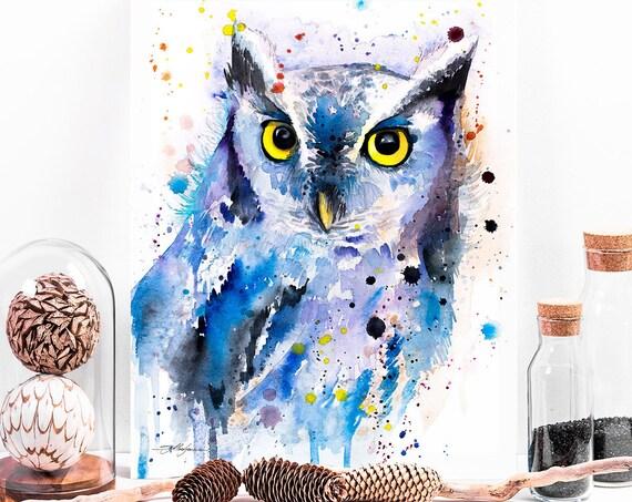 Screech owl watercolor painting print by Slaveika Aladjova, art, animal, illustration, bird, home decor, wall art, gift, Wildlife