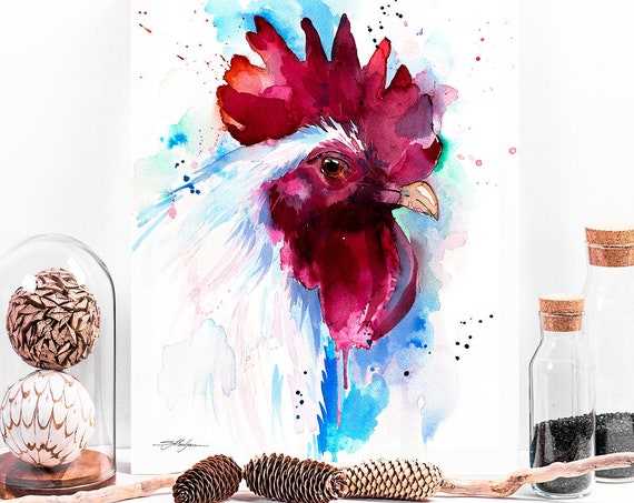White Rooster watercolor painting print by Slaveika Aladjova, animal, illustration, bird, Rooster art, Chicken art, kitchen art, colorful
