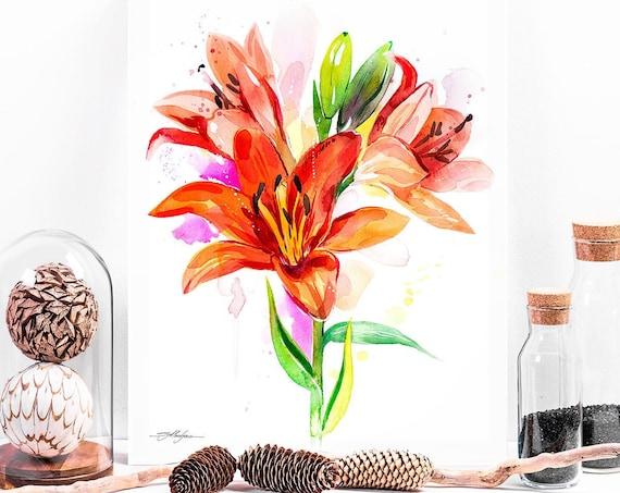 Lilium watercolor painting print by Slaveika Aladjova, illustration, home decor, Contemporary, plant, Botanical, Lily Flower