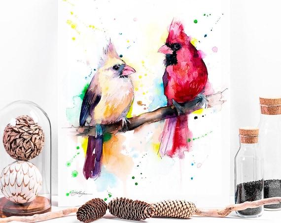 Cardinal Birds watercolor painting print by Slaveika Aladjova, art, animal, illustration, bird, home decor, wall art, gift, farm