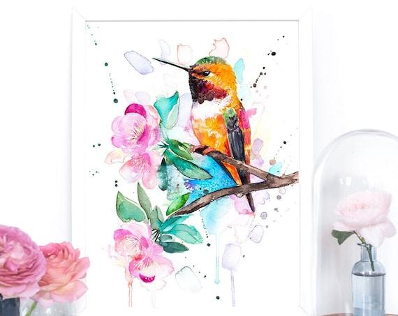 Rufous hummingbird watercolor painting print by Slaveika Aladjova, art, animal, illustration, bird, home decor, wall art, gift, Flower,