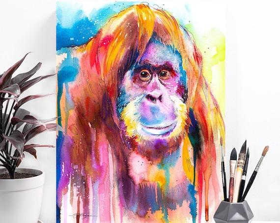 Orangutan watercolor painting print by Slaveika Aladjova, art, animal, illustration, bird, home decor, Nursery, gift, Wildlife, monkey