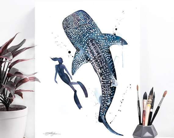 Freediver with Whale Shark watercolor painting print by Slaveika Aladjova, art, animal, illustration, Sea art, sea life art, home decor