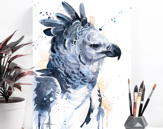 Harpy eagle watercolor painting print by Slaveika Aladjova, art, animal, illustration, bird, home decor, wall art, gift, Wildlife