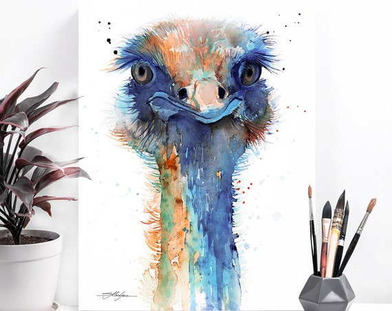 Ostrich watercolor painting print by Slaveika Aladjova,art, animal, illustration, bird, home decor, wall art, gift,