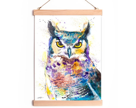 Horned Owl Watercolor Painting Framed, Wall Hanging print, Animal, Home Decor, Wall Art, Illustration, Ready to Hang, Nursery, Print