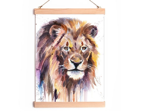 African Lion Watercolor Painting Framed, Wall Hanging print, Animal Art, Home Decor, Wall Art, Illustration, Ready to Hang, Framed, Nursery