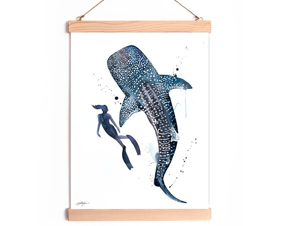 Scuba Diving with Whale Shark Watercolor Painting Framed, Wall Hanging print, Animal, Home Decor, Wall Art, Illustration, Ready to Hang,