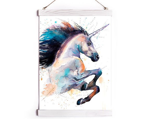 Unicorn Watercolor Painting Framed, Wall Hanging print, Animal, Home Decor, Wall Art, Illustration, Ready to Hang, Nursery, Print