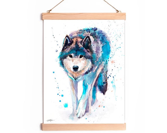 Wolf Watercolor Painting Framed, Wall Hanging print, Animal, Home Decor, Wall Art, Illustration, Ready to Hang, Nursery, Print