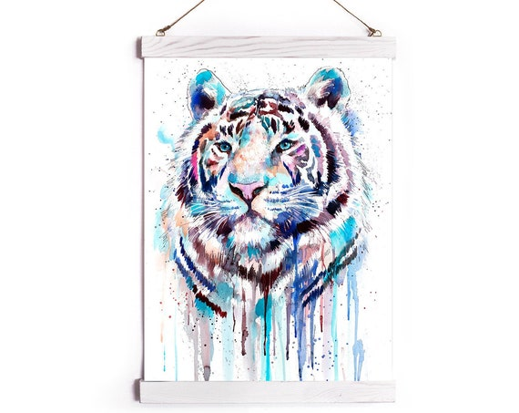 White Tiger Watercolor Painting Framed, Wall Hanging print, Animal, Home Decor, Wall Art, Illustration, Ready to Hang, Nursery, Print