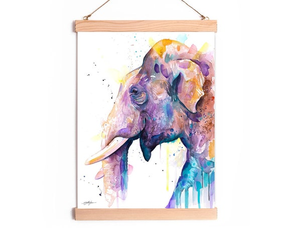 Asian Elephant Watercolor Painting Framed, Wall Hanging print, Animal, Home Decor, Wall Art, Illustration, Ready to Hang, Framed, Nursery