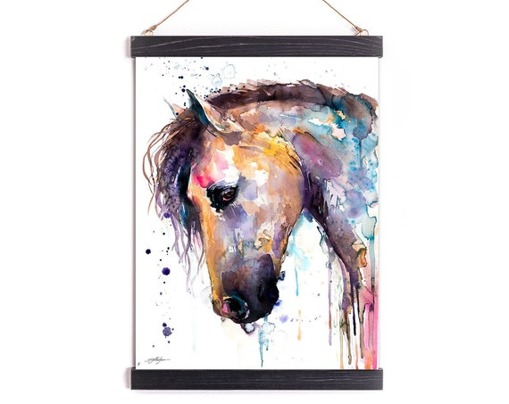 Beautiful Horse Watercolor Painting Framed, Wall Hanging print, Animal, Home Decor, Wall Art, Illustration, Ready to Hang, Framed, Nursery