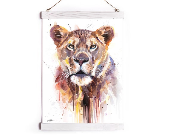 African Lioness Watercolor Painting Framed, Wall Hanging print, Animal, Home Decor, Wall Art, Illustration, Ready to Hang, Framed, Nursery