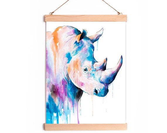 Rhino Blue  Watercolor Painting Framed, Wall Hanging print, Animal, Home Decor, Wall Art, Illustration, Ready to Hang, Nursery, Print