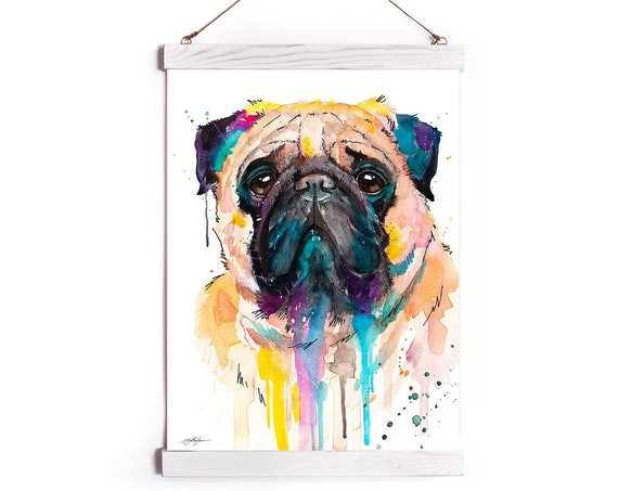 Pug Watercolor Painting Framed, Wall Hanging print, Animal, Home Decor, Wall Art, Illustration, Ready to Hang, Nursery, Print, gift