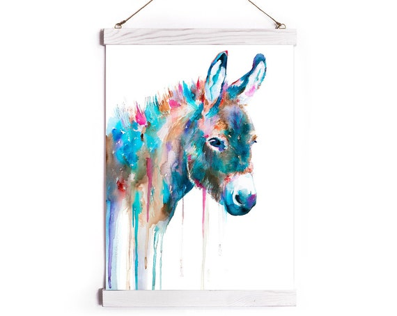Donkey Watercolor Painting Framed, Wall Hanging print, Animal, Home Decor, Wall Art, Illustration, Ready to Hang, Nursery, Print