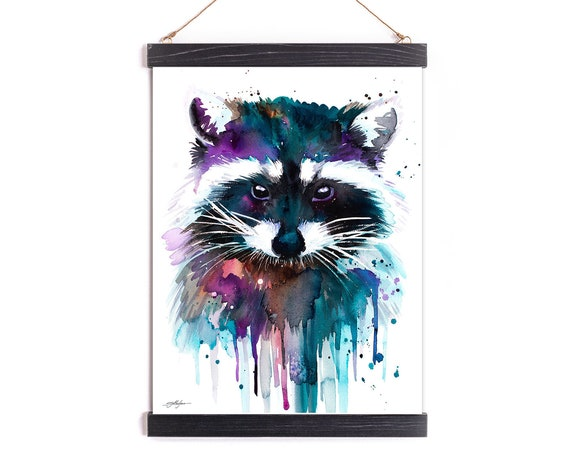 Raccoon Watercolor Painting Framed, Wall Hanging print, Animal, Home Decor, Wall Art, Illustration, Ready to Hang, Nursery, Print
